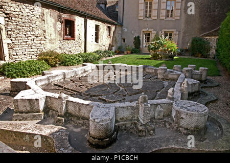 Model of medieval ramparts and fortifications and wall around the city of Beaune Burgundy France in the Beaune Museum - Stock Image