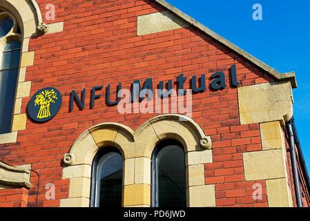 Sign - NFU Mutal on old chapel, England UK - Stock Image