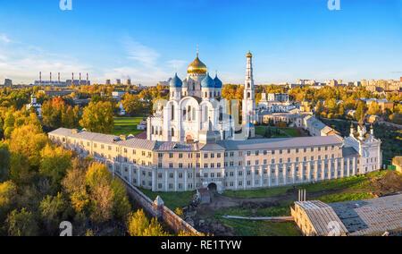 Aerial view of Nikolo-Ugreshskiy monastery in Dzerzhinsky, Moscow oblast, Russia - Stock Image