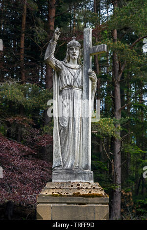 Statue of Saint Vincent in the grounds of St Vincent's Hospital, Kingussie, Badenoch and Strathspey, Scotland, UK. - Stock Image