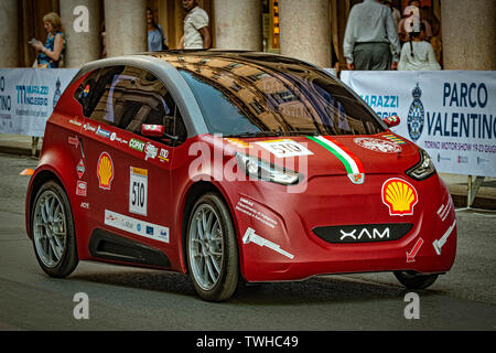 Turin, Italy. 20th Jun 2019. Turin Auto Show 2019 - The Polytechnic of Turin in dynamic action with the XAM prototype - Hybrid urban Concept - road demonstration Credit: Realy Easy Star/Alamy Live News - Stock Image