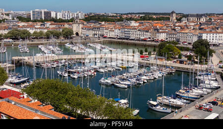 Panoramic high level view of the port of La Rochelle on the coast of the Poitou-Charentes region of France. - Stock Image