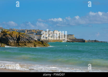 A view of St Ives in the distance, St Ives, Cornwall, UK - Stock Image