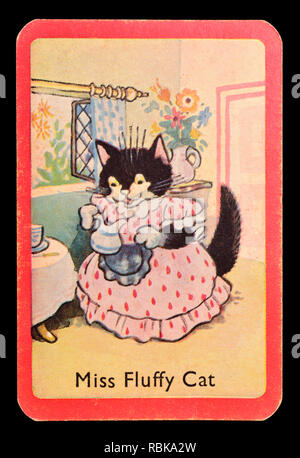 Card from a Noddy snap card game (1955)  - Miss Fluffy Cat - Stock Image