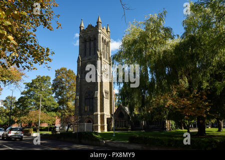 The tower of Christ Church on Prince Albert Street in Crewe town centre UK - Stock Image