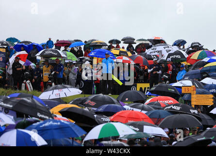 19th July, Portrush, Country Antrim, Northern Ireland; The 148th Open Golf Championship, Royal Portrush, Round Two ; Bubba Watson (USA) is surrounded by a sea of umbrellas as he waits to play from the 14th tee - Stock Image