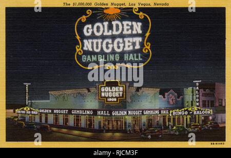 Night view of The Golden Nugget gambling hall, Fremont Street, Las Vegas, Nevada, USA. - Stock Image