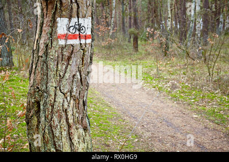Bike trail sign on a tree in a dense forest. - Stock Image