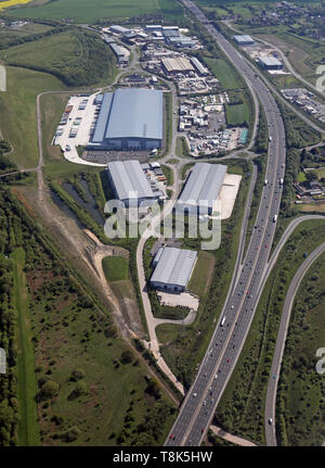 aerial view of the Markham Vale area at junction 29a of the M1 - Stock Image