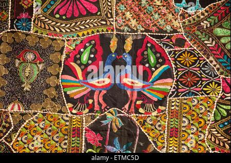 Rajasthani patchwork textile with Peacock motifs.Jaisalmer, Rajasthan, India - Stock Image
