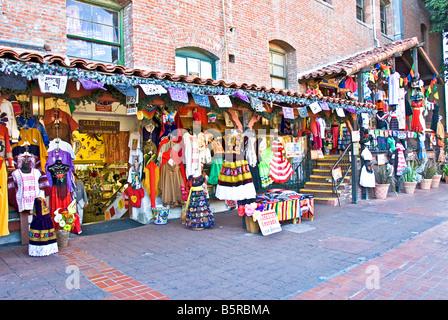 Olvera Street, Los Angeles CA Mexican marketplace, Plaza District Historic Buildings, Avila Adobe and Sepulveda - Stock Image