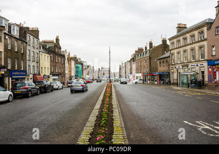 A view looking down the centre of Montrose High Street in Scotland/ - Stock Image