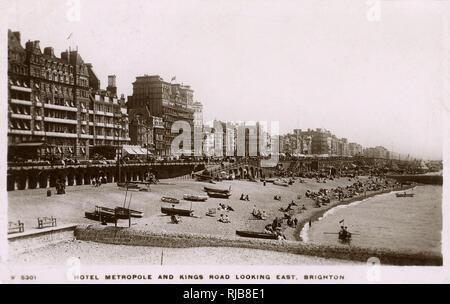 Hotel Metropole, Kings Road (looking east), Brighton, Sussex. - Stock Image