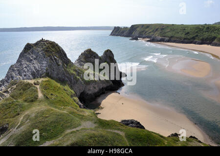 Three Cliffs Bay and beach on Gower Peninsular in Wales - Stock Image