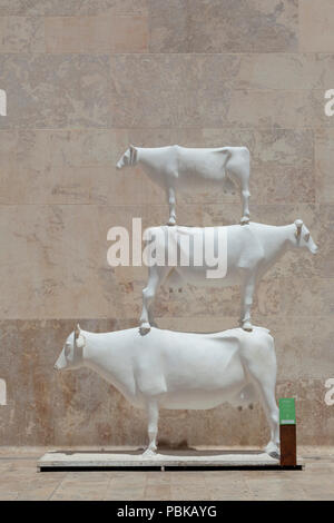 Cow sculpture, Valletta Gate, Malta - Stock Image