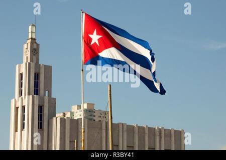 Cuba, Havana. Cuban flag blowing in the wind. Credit as: Wendy Kaveney / Jaynes Gallery / DanitaDelimont.com - Stock Image
