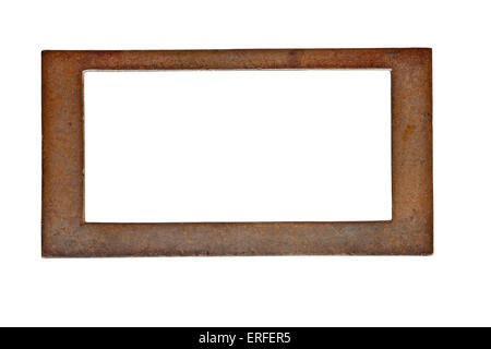 vintage heavy patina brass label name plate, clipping path - Stock Image