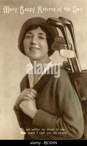 Female Golfer on Birthday Greetings Postcard - ''Tis not within my power to say - How much I wish you joy to-day'. - Stock Image
