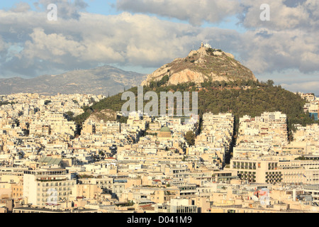 View to Mount Lycabettus (Lycabettos, Lykabettos, or Lykavittos) Athens, Greece - Stock Image