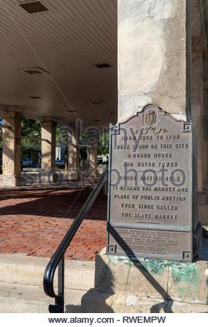 The Old Market at the Plaza de la Constitucion in the historic district of Saint Augustine, Florida USA - Stock Image
