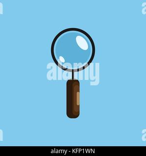 Magnifying glass vector illustration isolated on background. Search concept, magnifier icon in flat design. - Stock Image