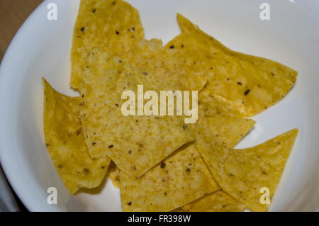 corn chips, white bowl, Mexican - Stock Image