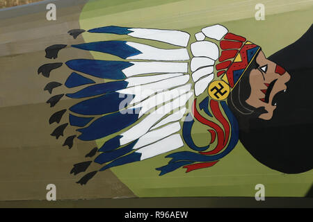 Hand painted Indian figure on a SPAD XIII Replica airplane. NX103JH. N103JH. World War 1 Dawn Patrol Anniversary Rendezvous event. The National Museum - Stock Image