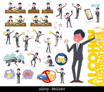 A set of businessman related to alcohol.There is a lively appearance and action that expresses failure about alcohol.It's vector art so it's easy to e - Stock Image