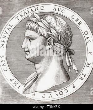Nerva, 30 AD - 98 AD.  Roman emperor. - Stock Image