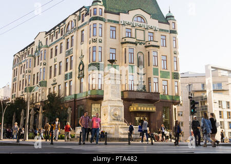 Terazije square in Belgrade with the Hotel Moskva in the background. Serbia. - Stock Image