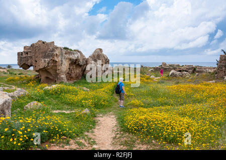 Spring flowers in The Tombs of the Kings, Tombs of the Kings Avenue, Paphos (Pafos), Pafos District, Republic of Cyprus - Stock Image