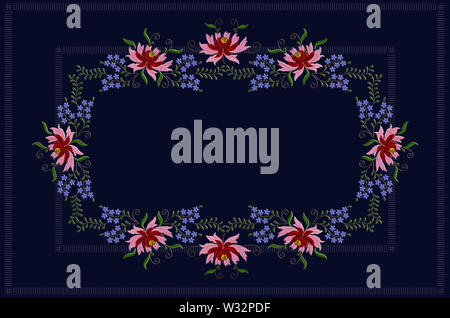 Dark blue tablecloth with a striped blue border is framed by embroidered flowers with red and pink petals and blue flowers on twisted branches - Stock Image