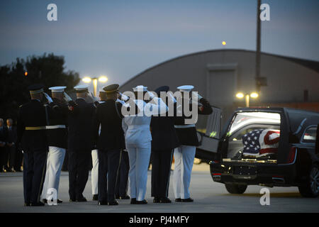 Members of the Joint Service Arrival Team render a final salute after transferring the casket of Sen. John McCain from an 89th Airlift Wing C-32 aircraft to a hearse at Joint Base Andrews, Md., Aug. 30, 2018. DoD personnel are honoring the former senator, and retired Navy Captain, by providing ceremonial support to his congressional funeral events. The 89th Airlift Wing provides global Special Air Mission airlift, logistics, aerial port and communications for the president, vice president, cabinet members, combatant commanders and other senior military and elected leaders as tasked by the Whit - Stock Image
