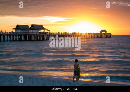 Young surfer and colorful Sunset over the pier, Naples, Florida, USA - Stock Image