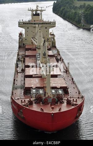 Canadian icebreaking bulkcarrier Umiak I passing the Kiel-Canal - Stock Image