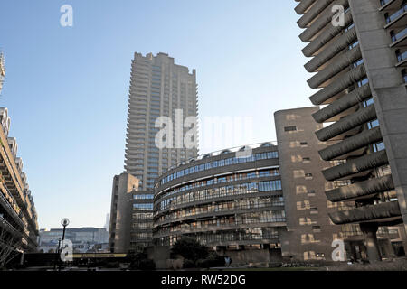 A view of housing blocks on the Barbican Estate in the City of London England UK  KATHY DEWITT - Stock Image