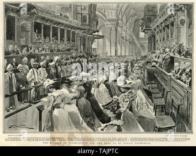 Prays in St Paul's Cathedral for King Edward VII who was suffering from appendicitis. 1902 - Stock Image