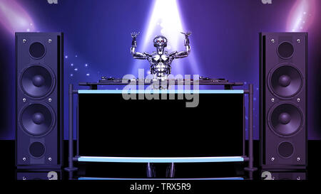 DJ Robot, disc jockey cyborg with hands up playing music on turntables, android on stage with deejay audio equipment, front view, 3D rendering - Stock Image