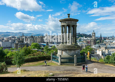 Edinburgh from the Dugald Stewart Monument (William Henry Playfair 1831). Calton Hill, Edinburgh, Scotland, UK - Stock Image