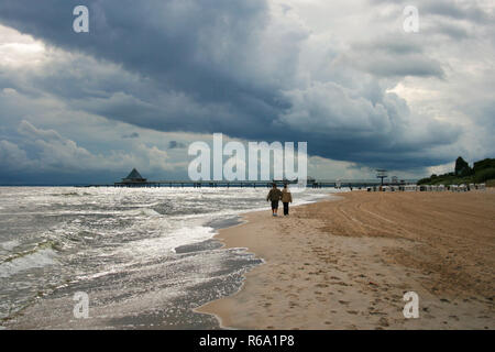Storm Clouds Over Baltic Sea Coast Of Usedom Island, Germany - Stock Image