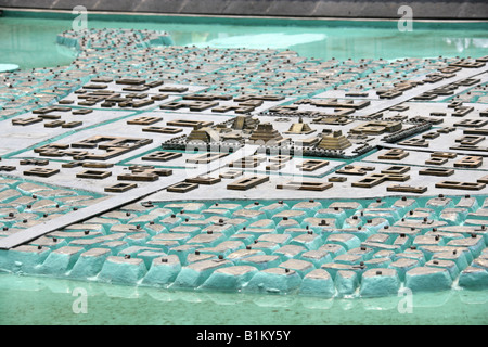 Model of the the Ancient Aztec City of Tenochtitlan, Zocalo Square, Plaza de la Constitucion, Mexico City, Mexico - Stock Image