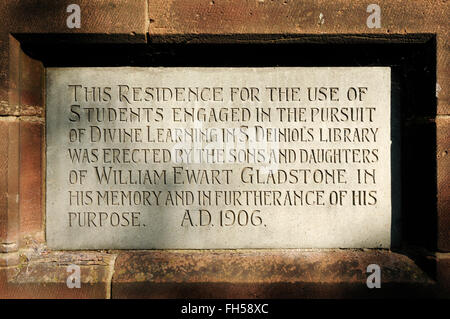 Commemorative plaque on Gladstones Library in Hawarden North Wales UK - Stock Image