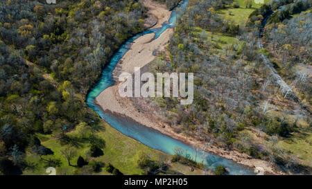 A drone image taken in Arkansas, USA - Stock Image