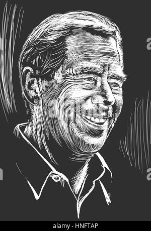 Drawing of Czech ex-president Vaclav Havel, author of theater plays and philosopher. February 2017. White engraving - Stock Image