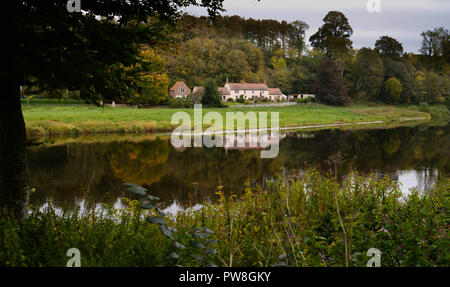 The Boathouse at Norham on the River Tweed - Stock Image