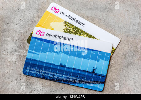 Two chipcards called 'OV-Chipkaart' required for all public transport in the Netherlands - Stock Image