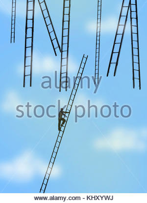 Man climbing ladder towards lots of ladders in sky - Stock Image