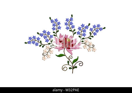 White background with embroidered stylized large flower with red and pink petals and small blue and white flowers on twisted branches with leaves - Stock Image
