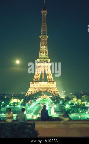 Eiffel Tower at night Paris France - Stock Image