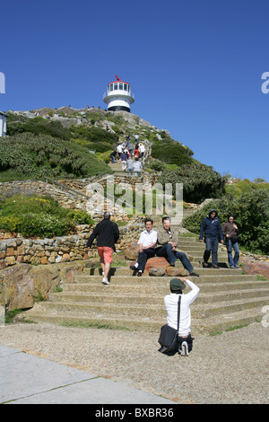 Tourists at Cape Point Lighthouse, Cape Peninsula, Western Cape, South Africa, Africa - Stock Image